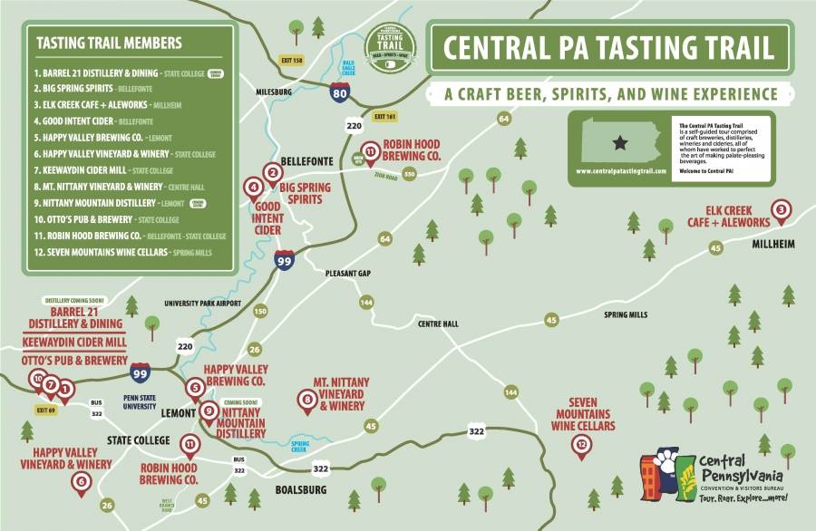 Central PA Tasting Trail Tour   Wineries, Breweries & Distilleries